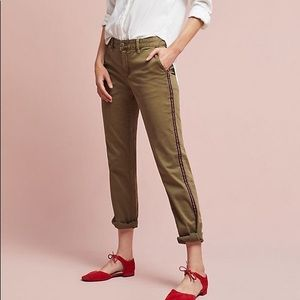 Anthropologie | Army Green Stripe Slim Fit Chinos